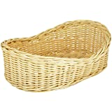 Agus Cane Wire Oval Fruit Basket (28 cm x 20 cm x 10 cm, Beige)