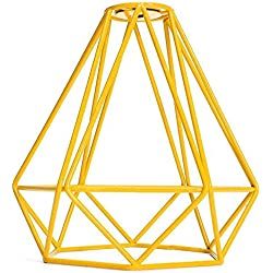 SODIAL Forme de diamant en metal Vintage Pendentif Cage de lampe de plafond Decor d'abat-jour - jaune