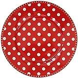 Krasilnikoff Platos de postre de color rojo con lunares blancos