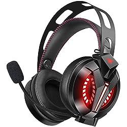 Combatwing Cuffie Gaming Leggere Avanzate con Microfono a Cancellazione Rumore e 7,1 Audio Surround, Cuffie Over-ear Cuscinetti Morbidi, LED, Controllo Mic/Volume per PS4 Xbox One PC Switch