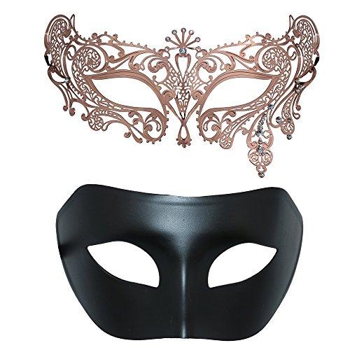 Thmyo Satz von 2 Maskerade Maske des Paares, venezianische Halloween-Ball-Abschlussball-Kostüm-Maske (Rose Gold + Schwarz 3) (Paare Von 3 Halloween-kostüme)