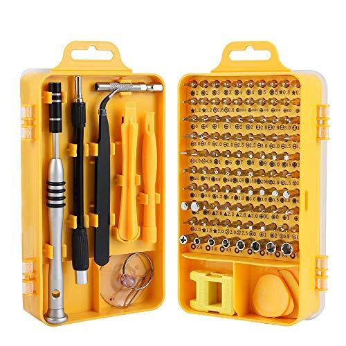 TREKOO Präzision Schraubendreher Set 110 in 1 Magnetisches Fein Schraubendreher Set, mit 90 Bits und Tragekoffer tragbarem, S2 Legierter Stahl Werkzeugset, [Energieklasse A+++]-Gelb MEHRWEG -
