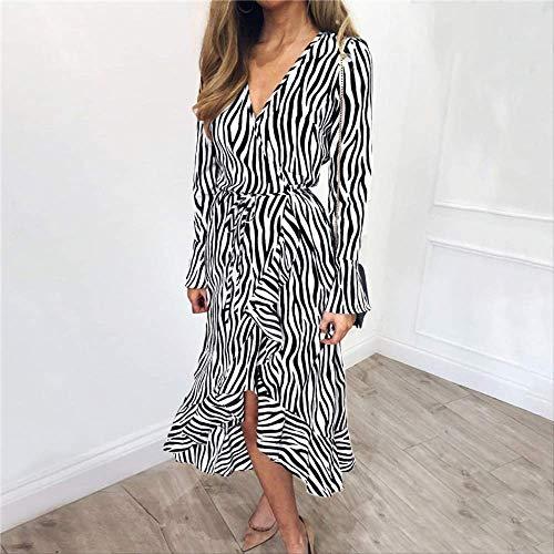 YKDDEE Frauenkleid Frühling Elegantes Chiffon Strandkleid Frauen Vintage Zebra Striped Print V-Ausschnitt Party Kleid Büro Kleid Mode Bequeme Röcke Können Ihnen Vertrauen geben XXL Weiß -