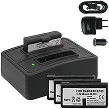 4x Baterías + Cargador doble (USB/Coche/Corriente) BA-90 para Sennheiser Audioport A1, E90, E180 (Set 180), HDE 1030 / HDI 91, 92... / RI 200, RI 300... - v. lista