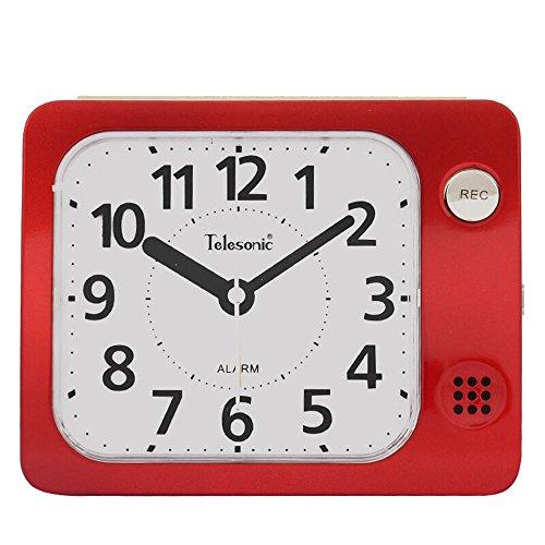 AIZIJI Barrido De Silencio Personalizado Luces Nocturnas La Grabación Inteligente Mensaje Alarm Clock 9.1X5.5X11.1Cm,Gules
