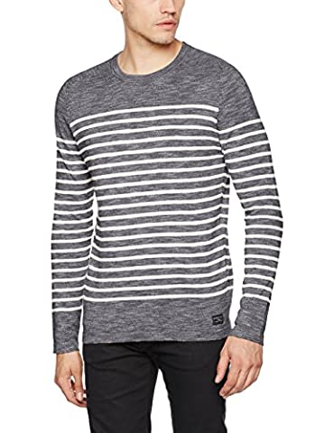 SELECTED HOMME Shhhunterslub Stripe Crew Neck, Pull Homme, Multicolore (Total Eclipse Stripes:Papyrus), Large