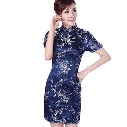 Haodasi Chinesisch Frauen Festlich Klassik Pflaumenblüte Gedruckt Cheongsam Brokat Kurzarm Qipao Kleid Navy Blau