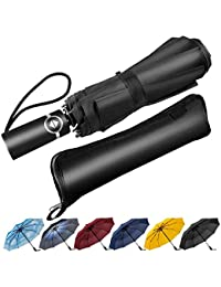 Newdora Windproof Travel Folding Umbrella Golf Umbrella Auto Open Close, Lightweight 10 Ribs Automatic Windproof Canopy Compact with Light Reflective with Water Absorption Bag
