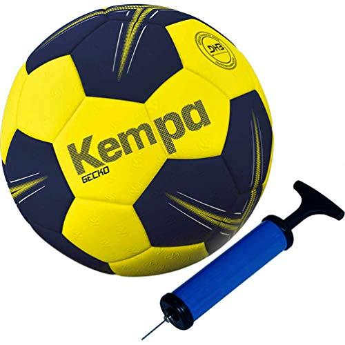 Kempa Handball softes griffiges Obermaterial mit DHB und IHF Logo blau/gelb (1 (mit Ballpumpe))