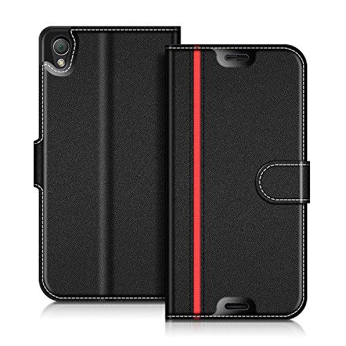 Coodio Sony Xperia Z3 Hülle Leder Lederhülle Ledertasche Wallet Handyhülle Tasche Schutzhülle mit Magnetverschluss / Kartenfächer für Sony Xperia Z3, Schwarz/Rot