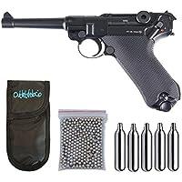 Outletdelocio. Pistola perdigon Luger P08 Blowback 4,5mm + Funda Portabombonas + Balines + Bombonas co2. 23054/29318/38123