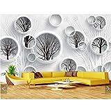 Yzybz Schwarz-Weiße Abstrakte Baum-Kreis-Ansicht-Tapeten Für Wände 3 D-Wandbild-Tapete Für Schlafzimmer Fernsehhintergrund-Tapeten Treten Mit Papier In Verbindung-280 * 180cm