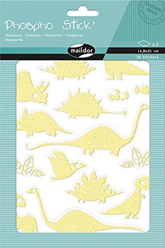Maildor AE105O Packung Sticker Phospho' Stick (mit Glitter Effekt, 2 Bögen in Format DIN A6, 10,5 x 16 cm, ideal für Kinder ab 5 Jahren, Dino) (Preise Stick Glow)