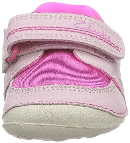 Clarks Kids Little Leap, Baskets Basses fille Rose (Pink Combi Lea)