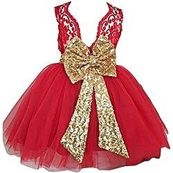 Niñas Bowknot Encaje Princesa Falda Summer Sequins Vestidos para Bebés Niños Niños 0-5 años de edad Roja / 0-1years