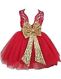 Niñas Bowknot Lace Princesa Falda Summer Sequins Vestidos para Bebés Niños Niños de 0-5 años de edad