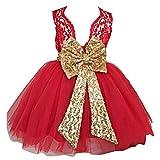 Highdas 2017 Mädchen Bowknot Spitze Prinzessin Rock Sommer Sequins Kleider für Baby Kleinkinder Kinder 0-5 Jahre Old Red / 4-5Jahre