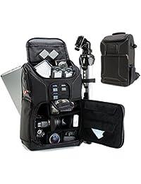 Profesional Cámara Mochila Bolsa de fotos DSLR con comodidad correa diseño, portátil, soporte para trípode, lente y almacenamiento de accesorios para Canon EOS Rebel T5, T5i, T6i y más cámaras réflex digitales de tamaño completo