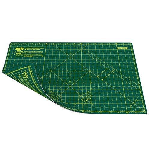 ANSIO Schneidematte Selbstheilende A3 Doppelseitige 5 Schichten sassend für Kunst, Nähen - Imperial/Metric 17 x 11 Zoll / 42 x 27 cm- Grün / Grün