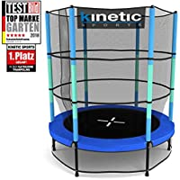 Kinetic Sports Trampolin Kinder Indoortrampolin Jumper 140 cm Randabdeckung Stangen gepolstert, Gummiseil-Federung Sicherheitsnetz Pink oder Blau preisvergleich bei fajdalomcsillapitas.eu