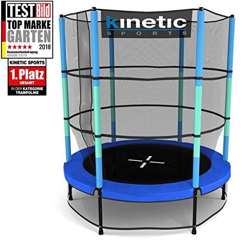 Kinetic sports trampolino bambini indoor tappeto elastico 140 cm, bordo di protezione, sistema a corda elastica, rete di sicurezza, blu