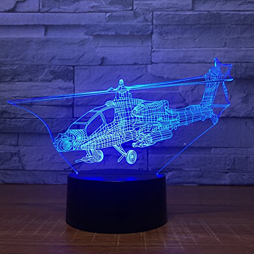 Leisurely Lazy Fighter Plane Shape 3D Optical Illusion Lamp 7 Colors Change and 15 Keys Remote Control LED Table Desk Lamp for Home Bedroom Decoration