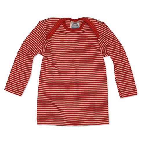 Cosilana Baby Schlupfhemd, Größe 98/104, Farbe Rot geringelt, 70% Wolle und 30% Seide kbT