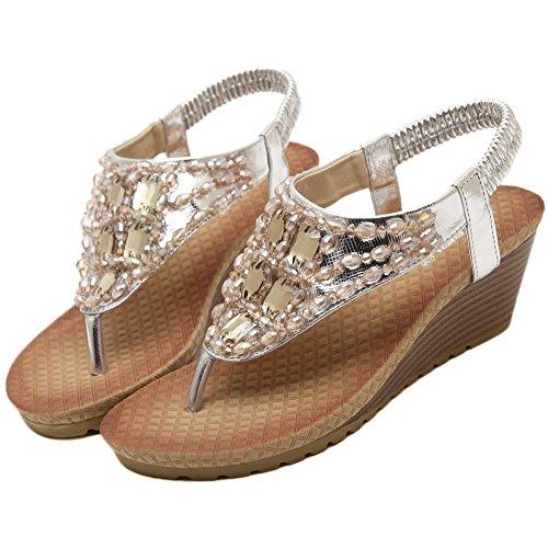 Fortuning's JDS Unique coins mode strass style sandales pour dames Argent