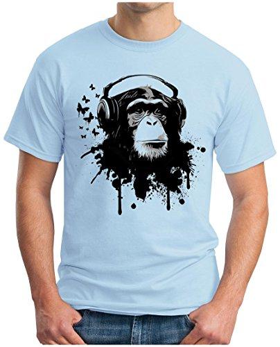 OM3 - DJ-APE - T-Shirt DeeJay Turntables Monkey Headphone Music Master MC Cool Reggae Geek, L, himmelblau (T-shirt Elektro-skull)