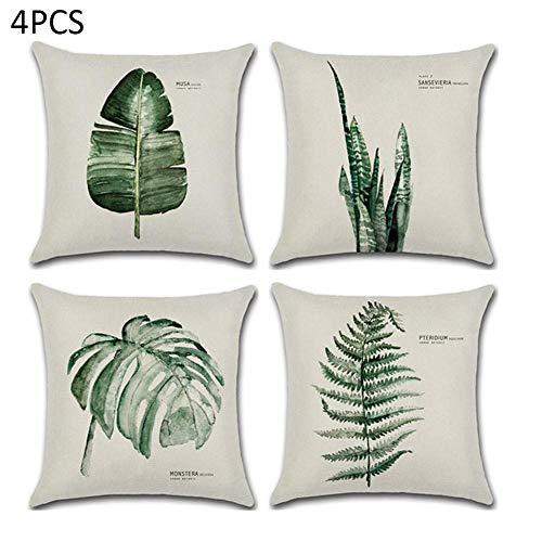 HoneybeeLY 4 Stück Nordic Minimalist Stil Grüne Blätter Design Dekorative frische und Elegante Leinen Baumwolle Home Kissenbezug - Baumwolle Blatt