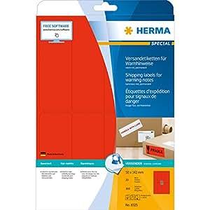 Herma 8325 Warnhinweis Aufkleber blanko (50 x 142 mm auf DIN A4 Papier matt) 160 Stück auf 20 Blatt, neon-rot, individuell bedruckbar, selbstklebend