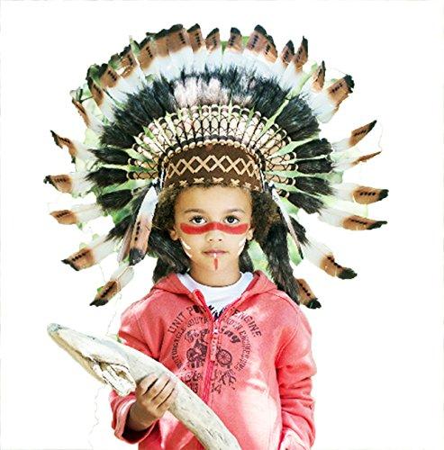 KARMABCN Indischer Kopfschmuck für 5 bis 8 Jahre Alten Kind/Kinder, Hut, Warbonnet Feder ()