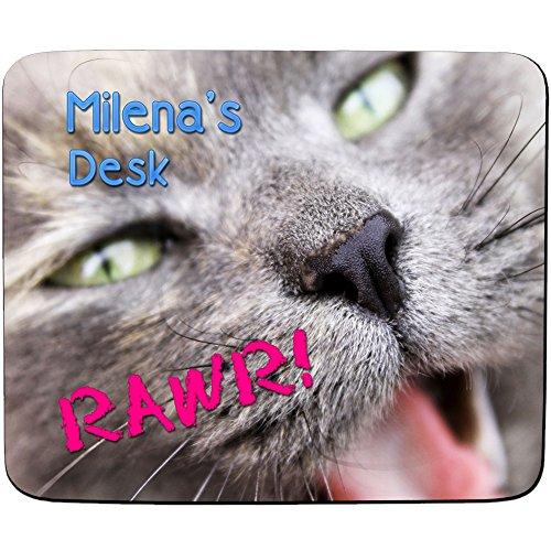 """Milena Schreibtisch–Süße Kätzchen """"Rawr"""" Design–Persönlicher Namen Mauspad–PREMIUM (5Dick)"""