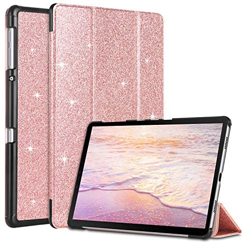 BENTOBEN Samsung Galaxy Tab A 10.5 Hülle, Samsung Tablet 10.5 2018 Hülle, Slim Leicht Smart Cover mit Auto Schlaf/Wake Glitzer Tablet Hülle für Samsung Galaxy Tab A 10.5 2018 T590 / T595 Rose Gold
