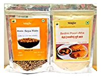 Magic Roasted Soyanut chatpata Masala + Bedmi poori Atta/Ready to eat and Cook/Pack of 200g Each.
