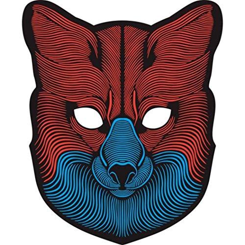 Sound Reaktive LED Halloween Masken,Saingace Sound Reactive LED Maske Tanz Rave Licht Einstellbare Maske Für Festival,Cosplay,Halloween,Kostüm,Batterie Angetrieben (B)