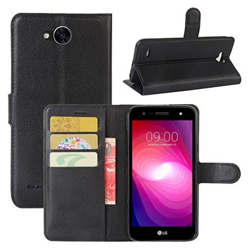 HualuBro LG X Power 2 Hülle, [All Around Schutz] Premium PU Leder Leather Wallet Handyhülle Tasche Schutzhülle Case Flip Cover mit Karten Slot für LG X Power2 Smartphone (Schwarz)
