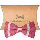 FLIEGENFAENGER® Herren Fliege [Rot Weiß] gestreift aus Baumwolle und Leinen - Individuell Verstellbar und Vorgebunden inklusive Aufbewahrung / Das Keypiece für dein Outfit