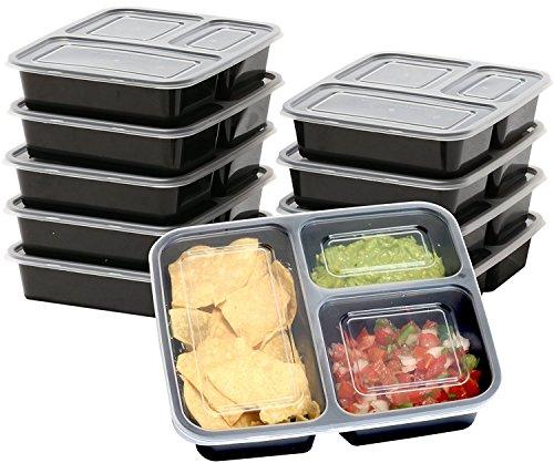 Set di contenitori per alimenti contenitori per alimenti con 3 scomparti (confezione da 10) tupperware con coperchi, in plastica, impilabili, riutilizzabili, per microonde, freezer, lavastoviglie, senza bpa