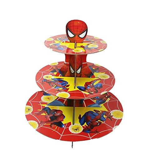 Spider-Man Cupcake Ständer aus Karton 3-Tier-Runde Turm für Geburtstag, Hochzeit, Engagement und Rezeption, Partys & Events der Hochzeit Decor