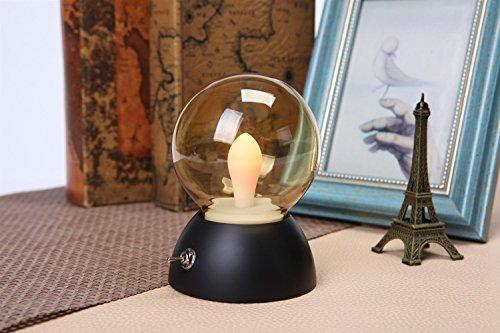 LongYu Petite Ampoule de Nuit Forme USB Rechargeable Verre Ampoule rétro lumière Colorful LED Lampe à économie d'énergie Forme Lampe de Table Douce lumière (Color : Black)