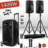 Système Actif Amplifié Batterie 1400W Port12 VHF Sonorisation karaoké Musiciens DJ USB Bluetooth Mobile + Pieds