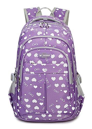 Keshi Nylon Cool Schulrucksäcke/Rucksack Damen/Mädchen Vintage Schule Rucksäcke mit Moderner Streifen für Teens Jungen Studenten Lila