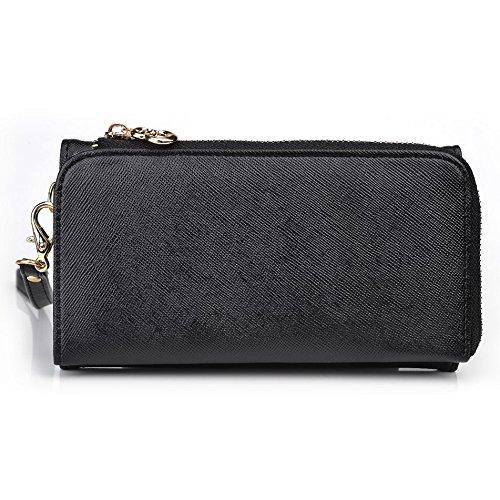 Kroo d'embrayage portefeuille avec dragonne et sangle bandoulière pour Samsung Galaxy Note II Noir/gris Black and Green