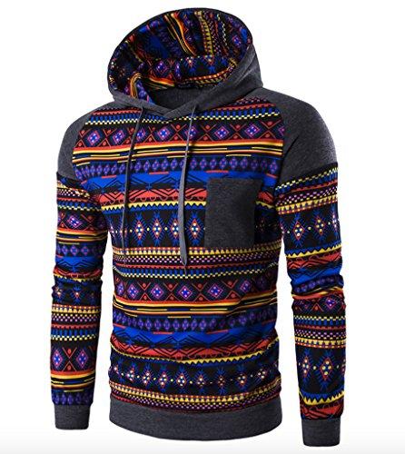WSLCN Herren Herbst Winter Sweatshirt mit Kapuze Kapuzenshirt Gemustert Dunkelgrau