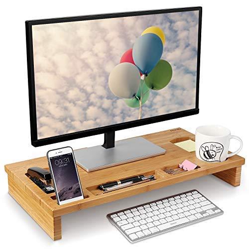 HOMFA Bambus Bildschirmständer mit stauraum Monitorständer Bildschirmerhöhung Schreibtischaufsatz organizer als Schreibtisch Organizer 60x30x8.5cm