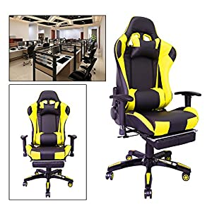 517fb7uwQjL. SS300  - HG-Silla-giratoria-de-oficina-Silla-de-juego-Apoyabrazos-acolchados-Comfort-premium-Silla-de-carreras-Capacidad-de-carga-200-kg-Altura-ajustable-negro-amarillo
