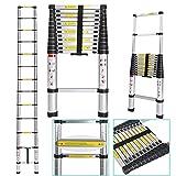 begorey 3.8M Alu Teleskopleiter klappbar Anlegeleiter mit Fingerklemmschutz ausziehbare Leiter Schiebeleiter Klappleiter Multifunktionsleiter 150 kg Belastbarkeit (Typ1-3.8m)