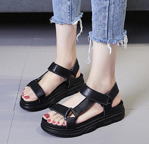 Donne Flip Flops Sandali Harajuku Cuoio Genuino Della Piattaforma Spessa Calza I Sandali Romani Di Velcro Black
