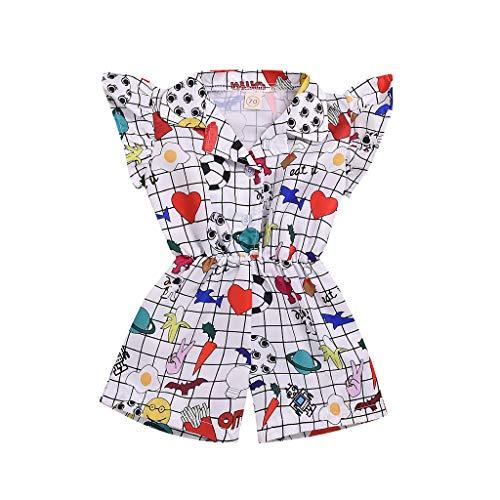squarex Kleinkind Kinder Baby Mädchen Kleidung Fliegen Ärmel Overall Cartoon Print Strampler Revers Overall Outfits Sommer Nette lässige Strampler -